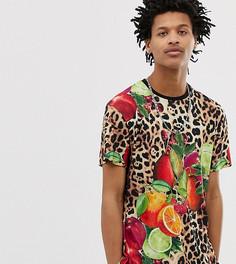 Винтажная футболка с фруктовым и леопардовым принтом Milk It - Коричневый
