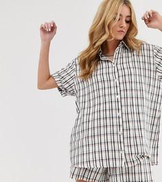 Oversize-рубашка в клетку Milk It - Белый