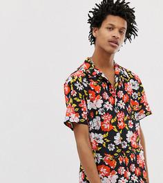 Рубашка классического кроя с цветочным принтом и отложным воротником Milk It Vintage - Черный