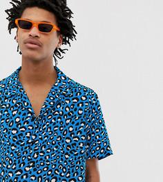 Синяя рубашка классического кроя с леопардовым принтом Milk It Vintage - Синий