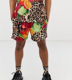Винтажные шорты с фруктовым и леопардовым принтом Milk It - Коричневый