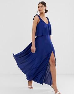 Платье макси с кроп-топом и завязками на плечах ASOS DESIGN - Темно-синий
