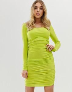 Платье мини с квадратным вырезом и длинными рукавами Club L - Зеленый