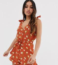Ромпер с завязками на плечах и цветочным принтом Miss Selfridge Petite - Оранжевый