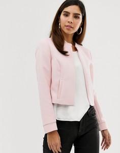 Короткая дутая куртка на молнии Naf Naf - Розовый