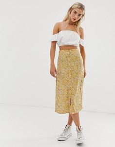 Юбка миди на пуговицах с цветочным принтом Daisy Street - Желтый