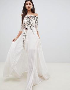 Платье макси с отделкой Forever Unique - Белый