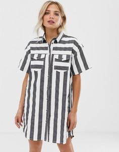 Dr Denim button through stripe shirt dress - Мульти