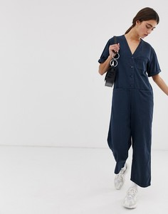 Monki organic cotton denim boilersuit with in blue - Синий