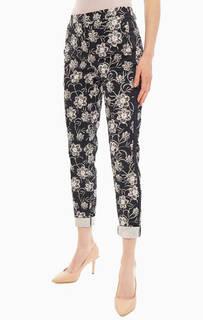 Хлопковые брюки чиносы с цветочным принтом Comma,