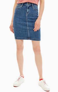 Синяя джинсовая юбка-карандаш Lee