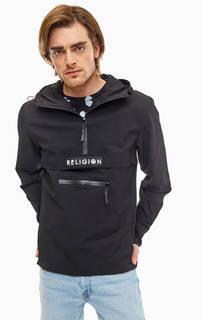 Черная ветровка-анорак с карманом Religion