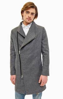 Серое пальто с косой молнией Religion