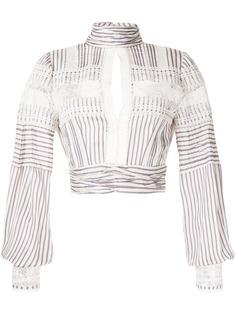 Self-Portrait блузка в полоску с вырезом-капелькой