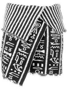 Balmain юбка мини асимметричного кроя с драпировкой