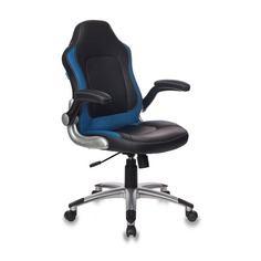 Кресло руководителя БЮРОКРАТ CH-825A, на колесиках, искусственная кожа [ch-825a/black+bl]