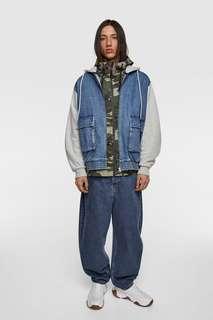 Комбинированная куртка с капюшоном Zara