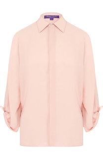 Однотонная шелковая блуза свободного кроя Ralph Lauren