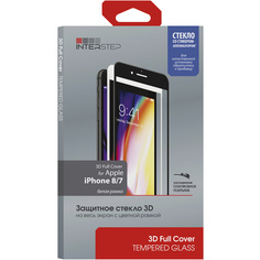 Защитное стекло для iPhone InterStep 3D Full Cover iPhone 8/7 белая рамка c аппл.
