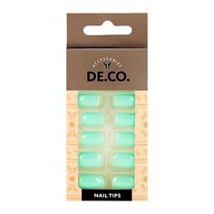 Набор накладных ногтей DE.CO. ESSENTIAL Mild green 24 шт + клеевые стикеры 24 шт Deco