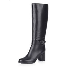 Черные кожаные сапоги на высоком каблуке Respect
