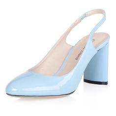 Голубые лаковые босоножки на плоском каблуке Respect