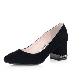 Черные туфли-лодочки на декорированном каблуке Respect