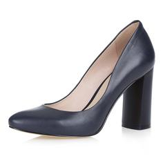 Синие туфли-лодочки на высоком устойчивом каблуке Respect