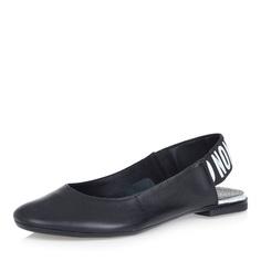 Туфли Черные открытые туфли на низком каблуке Respect