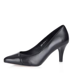 Черные кожаные лодочки на среднем каблуке Respect
