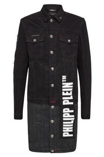 Черная куртка с логотипом и кристаллами Philipp Plein