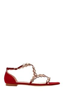 Красные сандалии с кристаллами Bibi LOU