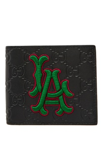 Черный кожаный кошелек с яркой аппликацией Gucci Man