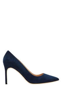 Темно-синие туфли BB из замши Manolo Blahnik