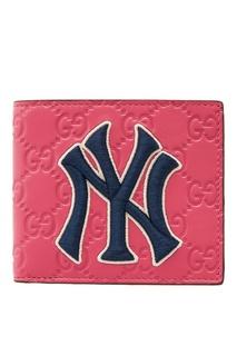 Розовый кошелек с аппликацией Gucci Man