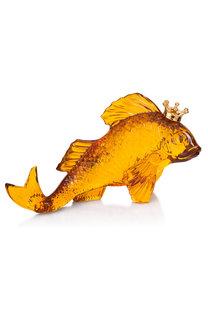 Скульптура золотая рыбка в короне Baccarat