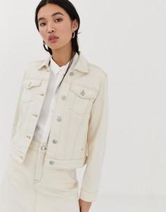 Джинсовая куртка с контрастной строчкой Selected Femme - Белый