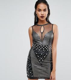 Платье без рукавов с пайетками и заклепками Boohoo Premium - Черный