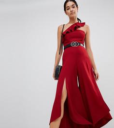 Комбинезон на одно плечо с расклешенными штанинами и разрезами River Island - Красный