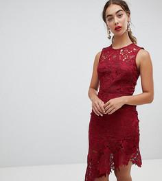 Кружевное платье миди с асимметричным краем River Island - Красный