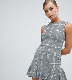 Платье мини в клетку с баской Missguided - Серый