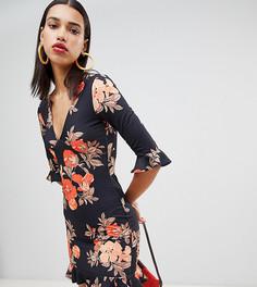 Чайное платье с цветочным принтом и оборками Boohoo - Мульти