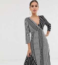 1cf712337db Монохромное платье миди в полоску и горошек Boohoo - Черный