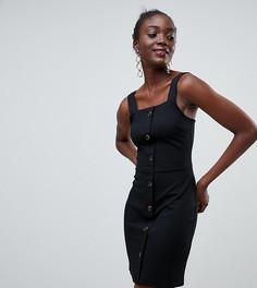 Черное трикотажное облегающее платье на пуговицах River Island - Черный