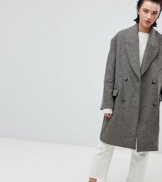 Оversize-пальто с шевронообразным узором Weekday - Бежевый