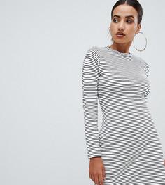 Платье-футболка в полоску с поясом Missguided - Белый