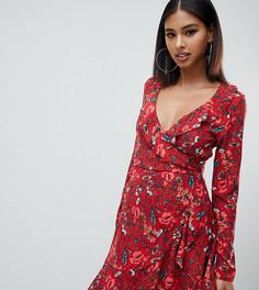 Чайное платье мини с запахом и цветочным принтом Missguided - Коричневый