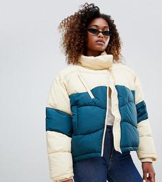 Короткая дутая куртка в стиле колор блок Weekday - Зеленый