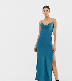 Атласное платье-комбинация Missguided - Синий