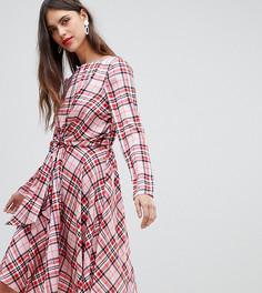 Платье миди в шотландскую клетку с узлом спереди River Island - Розовый